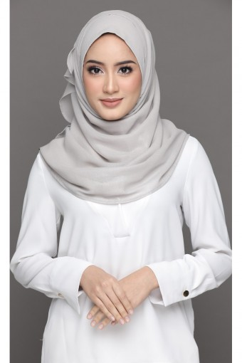 SILVER CLOUD-PLAIN SILVER GEORGETTE