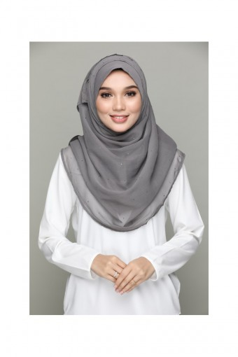 CHARCOAL-PLAIN FLAT CHIFFON WITH JEWEL