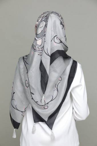 Gray Unconditional Love - Classic Shawl-Digital Printed Square SILK 130x130 cm with Tassels Gray Unc