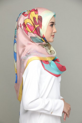 Al-Hambra-Classic Shawl-Digital Printed Square SILK 130x130 cm with Tassels
