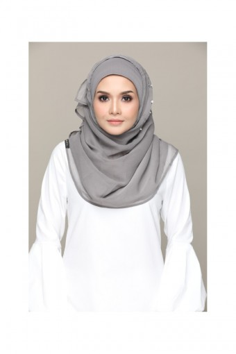 Silvery Moons-Premium Plain with Embroidery and Pearls Smooth Chiffon