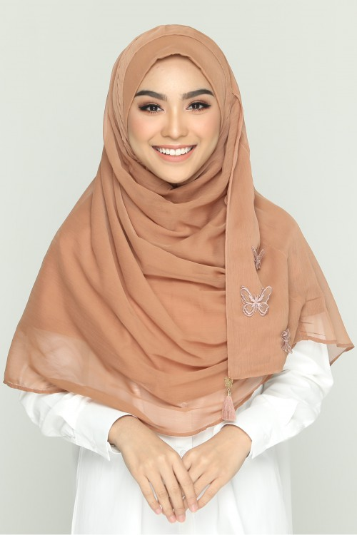 BROWN PATINA- PLAIN WITH APPLIQUE SMOOTH CHIFFON