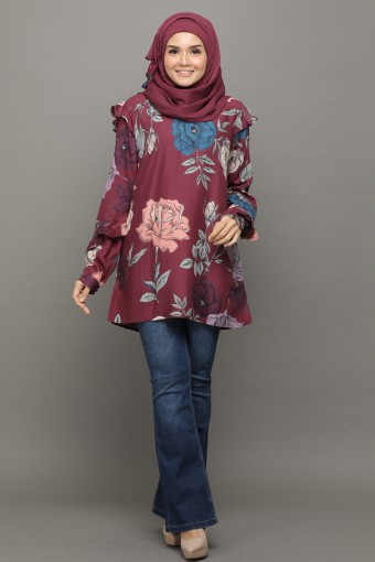 Carnation Rose Obsession-Tunic Ruffles-Printed Rayon Natural Fiber