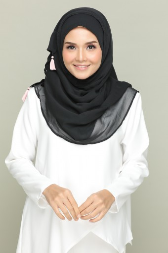 Black for Belle-Plain Smooth Chiffon