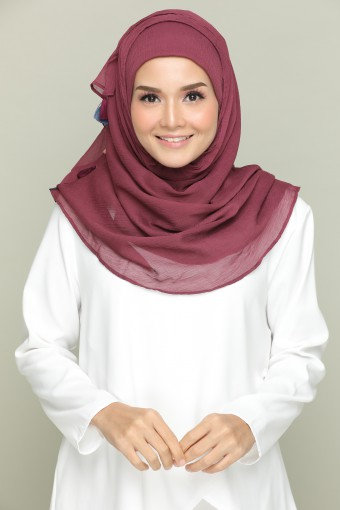 Aubergine-Plain With Tassels Smooth Chiffon