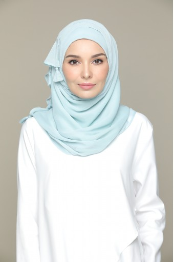 Cloud Blue Plain Smooth Chiffon