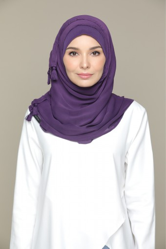 Purple Pennant Plain Smooth Chiffon