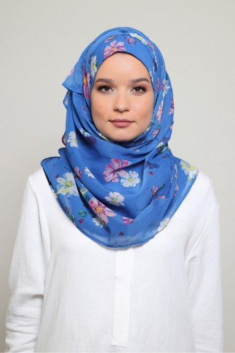 Daisies Blue!-Printed Smooth Chiffon