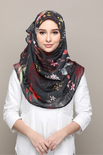 Rainforest-Printed Smooth Chiffon