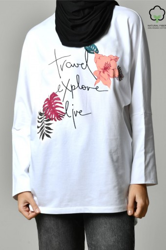 TRAVEL EXPLORE LIVE NAVY-Tshirt Pansy-Printed Cotton