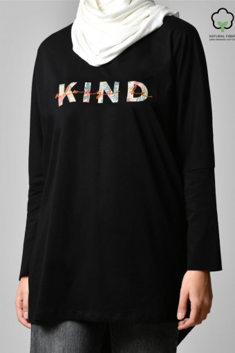 ALWAYS BE KIND BLACK-Tshirt Pansy-Printed Cotton