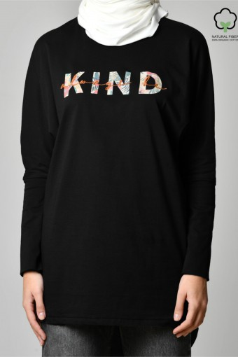 ALWAYS BE KIND BLACK-Tshirt Pansy Long-Printed Cotton