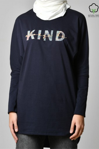ALWAYS BE KIND NAVY-Tshirt Pansy-Printed Cotton