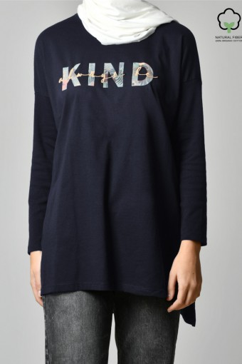 ALWAYS BE KIND NAVY-Tshirt Tulip-Printed Cotton