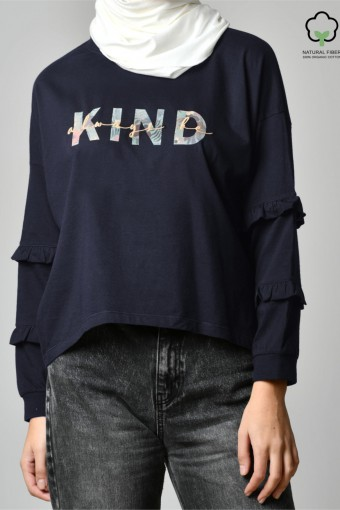 ALWAYS BE KIND NAVY-Tshirt Peony-Printed Cotton
