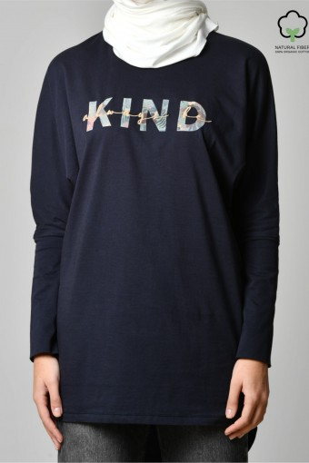 ALWAYS BE KIND NAVY-Tshirt PansyLong-Printed Cotton