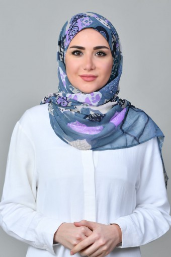 Dunyazad Blue-Freestyle with Inner-Printed Mosaic Chiffon