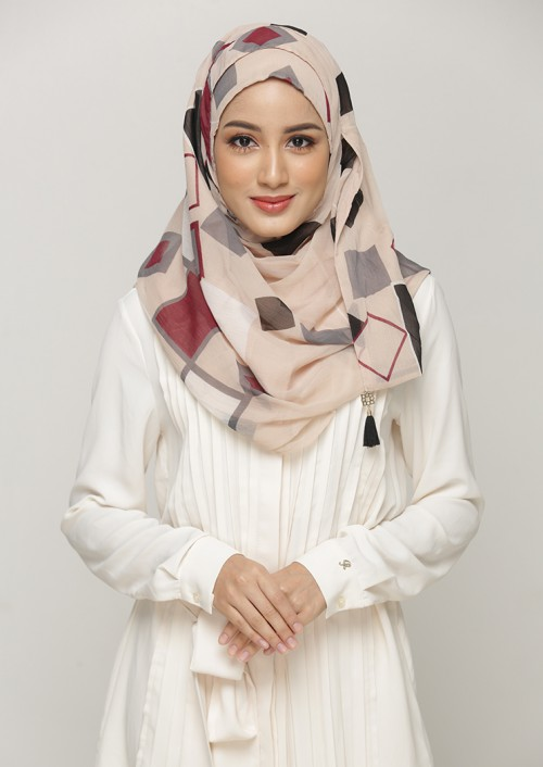 BB BEIGE PRINTED SMOOTH CHIFFON