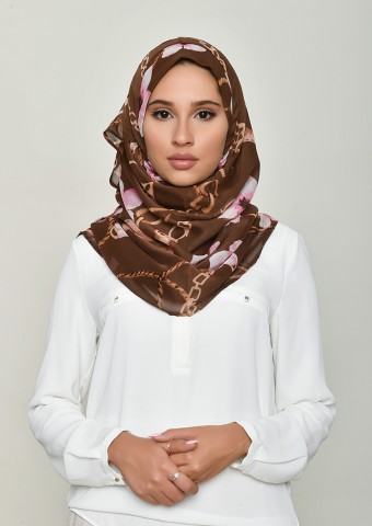 Blossom Brown-Printed Crinkled Chiffon