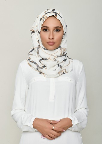 Buckle Cream-Printed Georgette