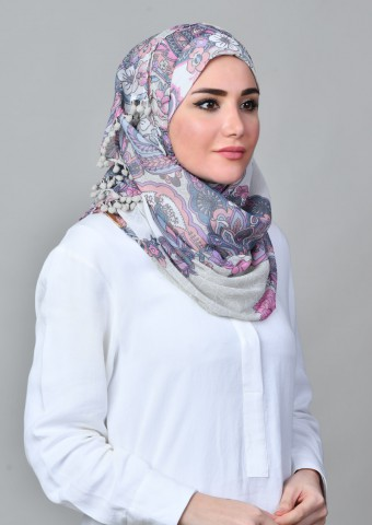 Boteh Blue-Printed with Pompoms Mosaic Chiffon
