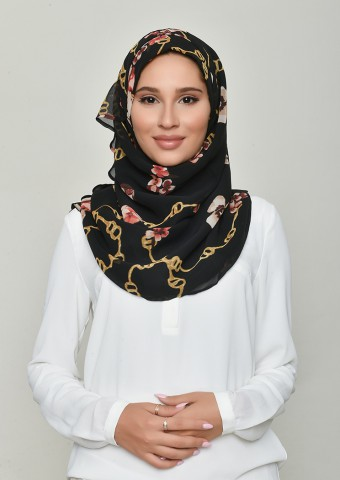 Chains Black-Printed Georgette