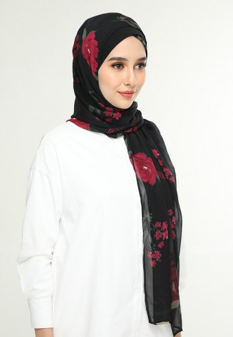 Jameela Black-Freestyle With Inner -Printed Crinkled Chiffon