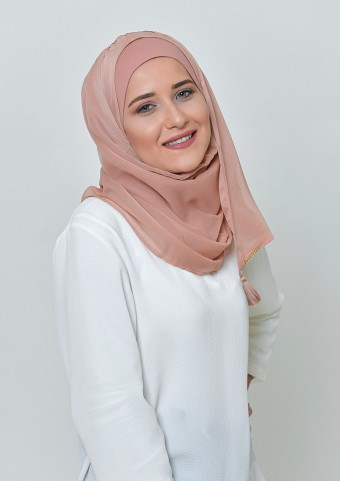 Latte-Basic Plain Lite Chiffon