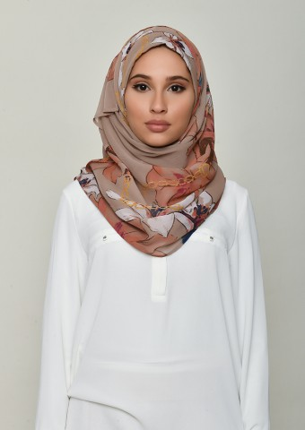 Lilies Beige-Printed Crinkled Chiffon