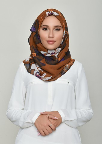 Lilies Caramel-Printed Crinkled Chiffon