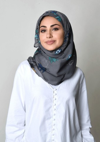 Cyclamen Blue-Printed Crinkled Chiffon