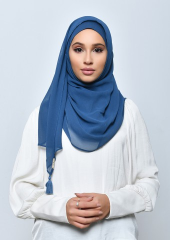 Blueberry-Taj-Plain Crepe Chiffon