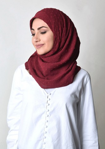 Biking Red-Plain Mosaic Butti Chiffon
