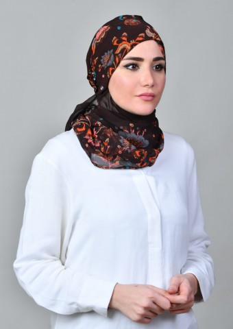 Shiraz Brown-Cap Shawl-Printed Mosaic Chiffon