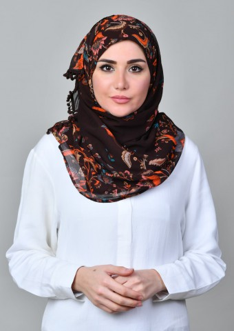 Shiraz Brown-Printed Mosaic Chiffon