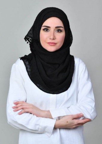 Black Polka-Plain With Pompoms Crinkled Butti Chiffon
