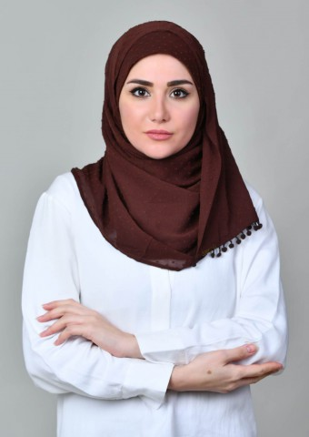 Choco-Plain With Pompoms Crinkled Butti Chiffon